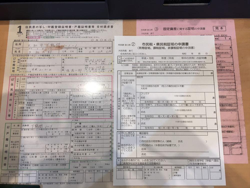 住民票の記入用紙