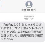 [PayPayより] おめでとうございます! 「マイナポイントペイペイジャンボ」の4等500円相当が当選しました。 残高明細をご確認下さい。